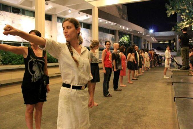 Dafna Talmon, Artist protest, Helena Rubinstain Tel Aviv, Summer 2011.